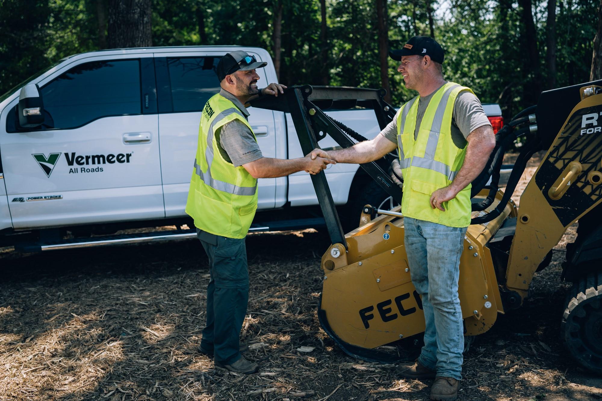 Fecon Equipment Sales Rep Visit with Vermeer All Rads Truck